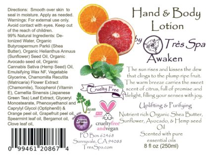 Awaken Organic Hand and Body Lotion by Tres Spa