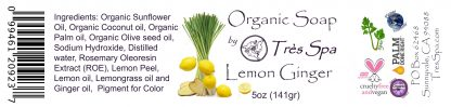 Tres Spa Organic Soap - Lemon Ginger Snap