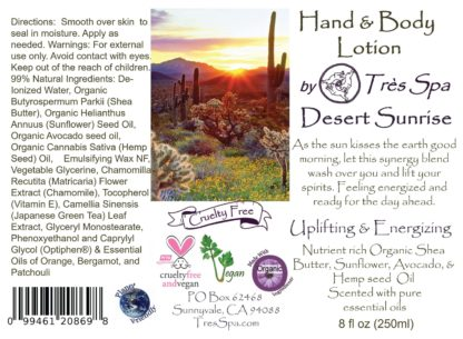 Desert Sunrise Organic Hand & Body Lotion by Tres Spa