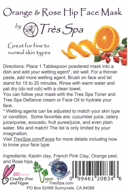 Tres Spa Face Mask Orange and Rosehips