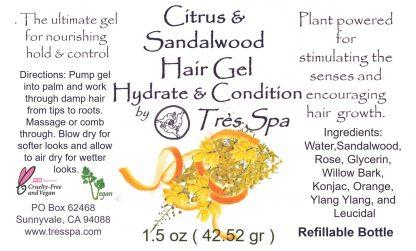 Tres Spa Hair Gel Citrus Sandalwood