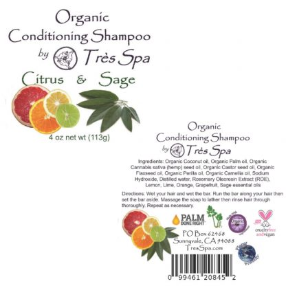 Très Spa Organic Conditioning Shampoo Citrus Sage Label