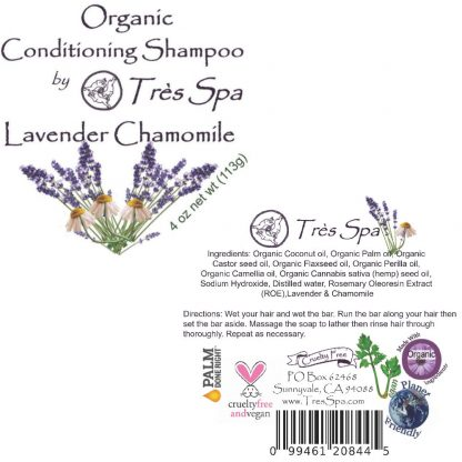 Très Spa Organic Conditioning Shampoo Lavender Chamomile Label