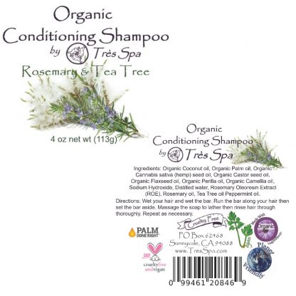 Très Spa Organic Conditioning Shampoo Rosemary Tea Tree & a kiss of Mint Label