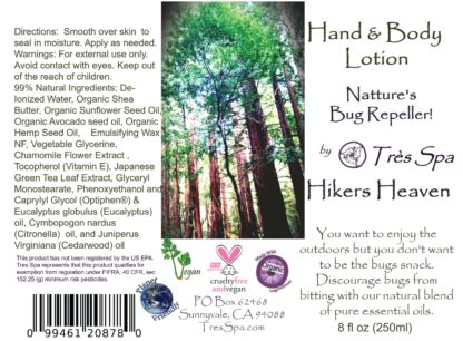 Hiker's Heaven Organic Hand & Body Lotion by Tres Spa