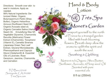 Monet's Garden Organic Hand & Body Lotion by Tres Spa