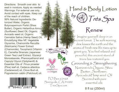 Renew Organic Hand & Body Lotion by Tres Spa